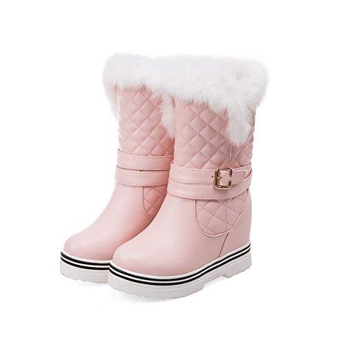 AgooLar Damen PU Niedrig-Spitze Rein Ziehen auf Hoher Absatz Stiefel Pink