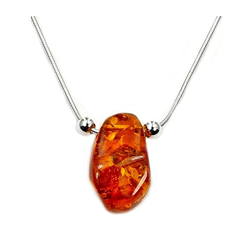 'Sweet Drop' Sterling Silver Natural Honey Baltic Amber Necklace