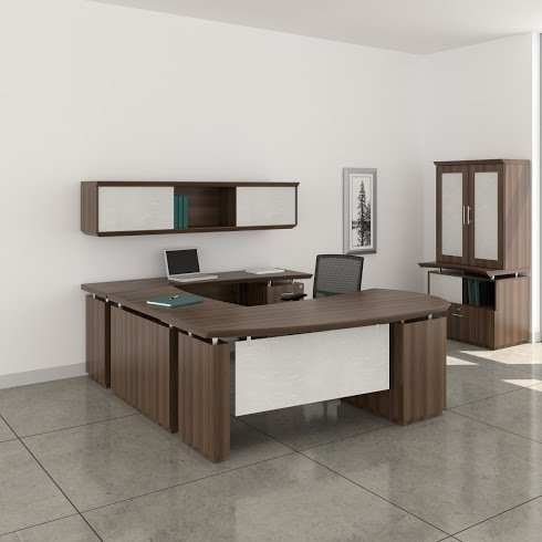72'' L-Shaped Desk W/Wall Mount Hutch Desk: 72''W X 108''D X 29.5''H Wall Mount Hutch: 72''W X 16.5''D X 16.5''H 1 5/8'' Thick Work Surface W/Knife Edge Detail - Textured Mocha - Bridge on Right (Shown)