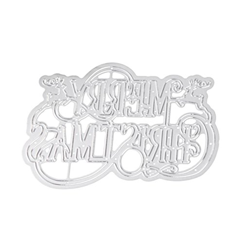 Stencil Lettres Merry Christmas, ZTY66 Metal Silver Cutting Dies for DIY Scrapbooking Embossing Album Paper Card Craft
