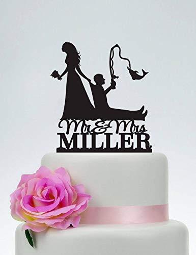 KISKISTONITE Cake Decorating Supplies, Bride Pulling Groom, Bride Dragging Groom, Funny Cake Topper, Custom Fishing Cake Topper,Mr and Mrs Cake Topper, Outdoor Wedding,Party Favors