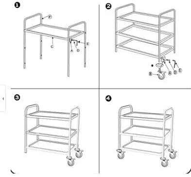 INTBUYING Stainless Steel Trolley Utility Cart 2-Tier Stainless Steel Table with Wheels