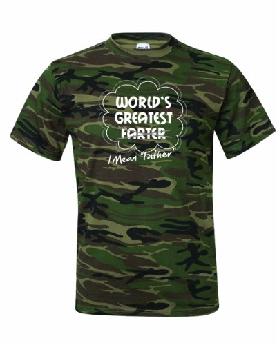 Men's Worlds Greatest Farter I Mean Father T-Shirt-Camo (The Greatest Bar Halloween)