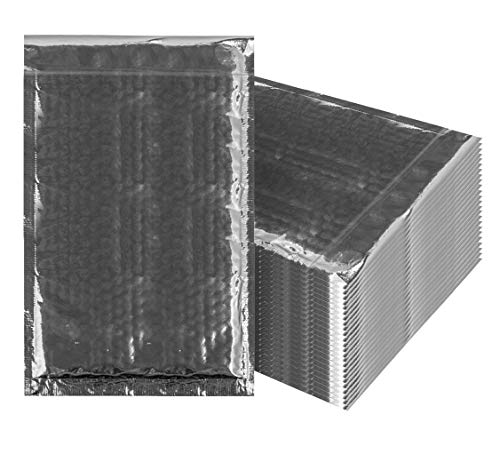 Bubble mailers 7.25 x 11 Padded envelopes 7 1/4 x 11 by Amiff. Pack of 25 Silver Cushion envelopes. Exterior Size 8x12 (8 x 12). Peel & Seal. Glamour Metallic foil. Mailing, Shipping.]()