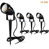 MEIKEE 12V/24V Landscape Lights 7W COB Pathway Lights 800LM Warm White Outdoor Spotlights IP66 Waterproof Lawn Lights Low Voltage Patio Lights LED Garden Lights for Yard, Swimming Pool, Wall (4 Pack)