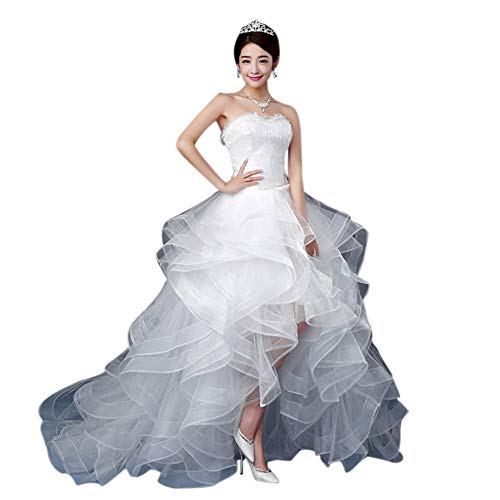 BessWedding Girls Sexy Long Organza Sleeveless Wedding Ivory Dress with Beading