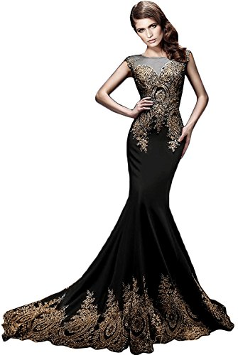 Butmoon Women's Mermaid Long Appliques Formal Evening Gown