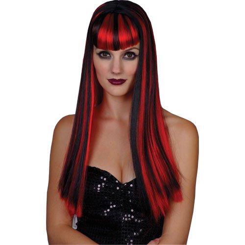 Long Black Red Vamp Vampire Vixen Wicked Halloween -