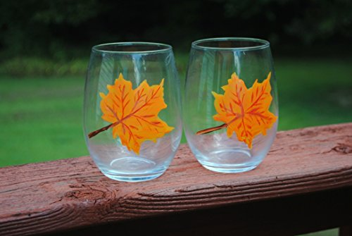 Maple Desk Country (Autumn Orange Maple Leaf Hand Painted (Set of 2) Stemless Wine Glasses 20 oz, Fall Home Décor)