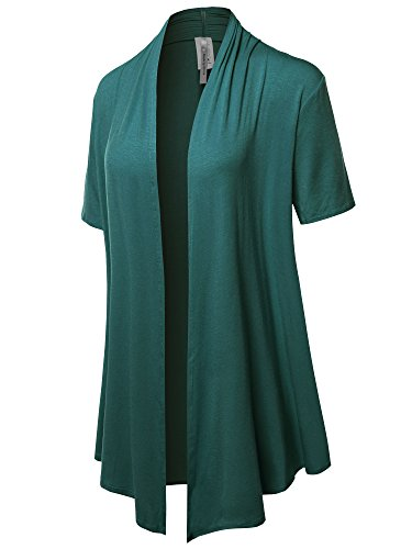 Solid Jersey Knit Draped Open Front Short Sleeves Cardigan Teal 1XL
