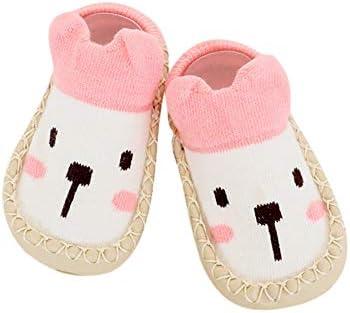 ACHICOO ベビーソックス 柔らかい 赤ん坊 ソックス 靴 スリップ防止 床ストッキング 漫画設計 新生児 幼児 歩く履物 黄 Mコード(足裏12cm)