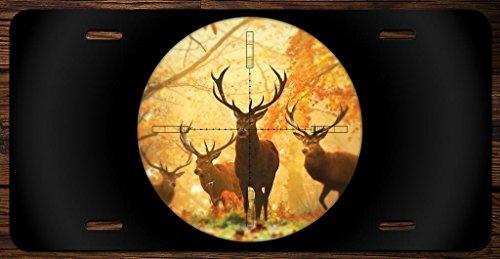 Deer in Scope Hunting Vanity Front License Plate Tag Printed Full Color KCFP058 (Hunting License Tag)
