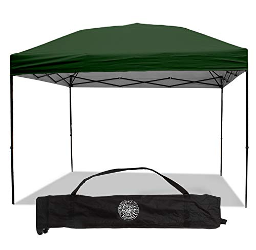 Punchau Pop Up Canopy Tent 10 x 10 Feet, Green - UV Coated, Straight Leg, Waterproof Instant Outdoor Gazebo Tent, Bonus Roller Carry Bag