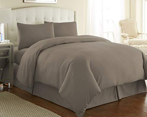 Southshore Fine Living, Inc. Vilano Springs Premium Quality Oversized 3-Piece Duvet Cover Set, King/California King, Dark Taupe