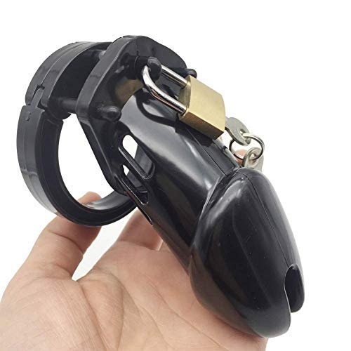 SEX-LUCKY FAT GIRL 2019 New Men's Silicone Equipment Control Cage 5 Ring (Black)