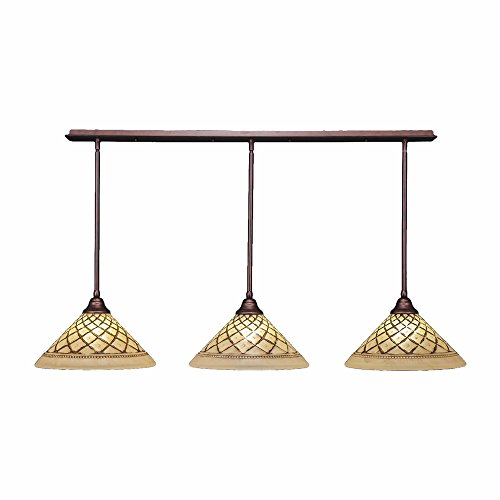 Toltec Lighting 48-BRZ-718 3 Light Multi Light Pendant with Hang Straight Swivels with 16″ Chocolate Icing Glass, Bronze Finish