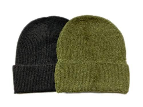 Meesty 2 Pack Warm Winter Soft Wool Alpaca Beanie Hat Cap for Women and Men (Black/Green) (Cap Warm Wool Alpaca)