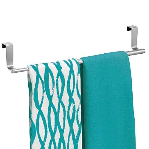 mDesign Adjustable, Expandable Kitchen Over Cabinet Towel Bar Rack - Hang on Inside or Outside of Doors, Storage for Hand, Dish, Tea Towels - 9.25