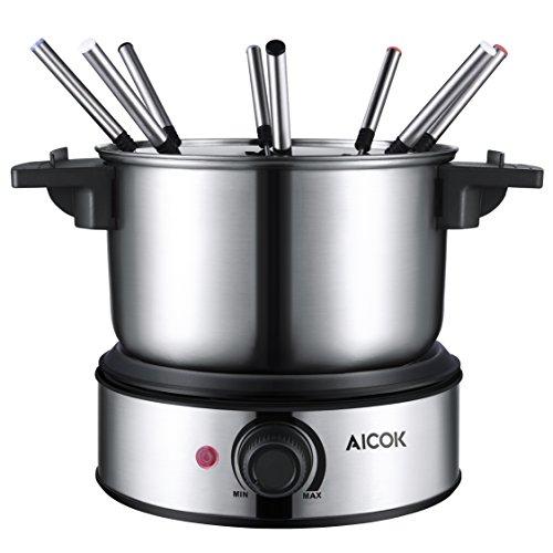Aicok Electric Fondue Pot Set Stainless Steel Fondue Maker Cheese Melting Pot Cooker Chocolate Maker