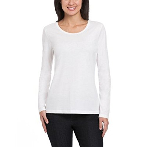 Ellen Tracy Long Sleeve Scoop Neck Top WHITE LARGE