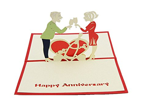 IShareCards Papercraft Handmade 3D Pop Up Greeting Cards for Valentines,Lovers,Couple's Happy Anniversary Gifts (Happy Anniversary)