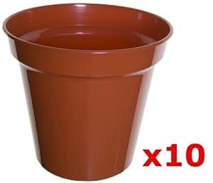 "Whitefurze 10x 38cm 15""plástico macetas de terracota cultivo para plantas para jardín & flores"