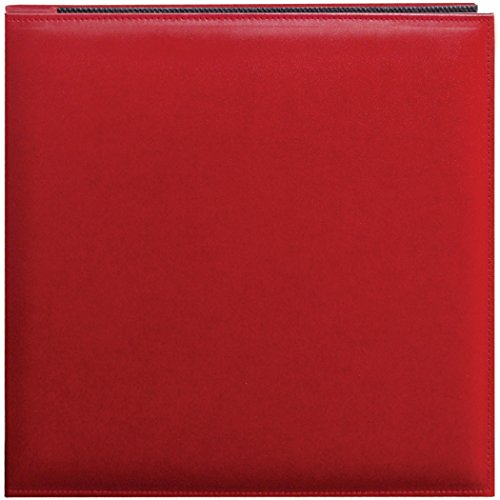 Pioneer 12 Inch by 12 Inch Snapload Sewn Leatherette Memory Book, Red (Scrapbook Pioneer Red)