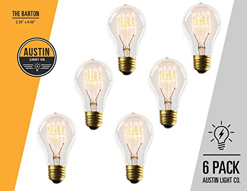 Edison light bulb – 6 Pack – The Barton - 40 Watt Bulb - Choose from many other designs. Inspired by Thomas Edison these incandescent filament style bulbs provide retro - Outlet Barton
