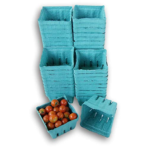 Biodegradable Green Molded Pulp Fiber Berry/Produce Baskets 1 Pint Vented (50 Pack)