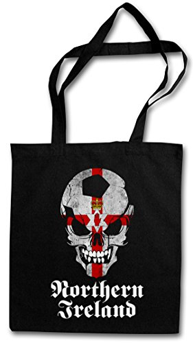 BLACK CLASSIC NORTHERN IRELAND IRISH FÚTBOL FOOTBALL SOCCER SKULL FLAG Hipster Shopping Cotton Bag Cestas Bolsos Bolsas de la compra reutilizables �?bandera