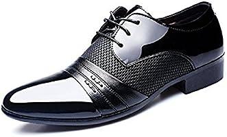 Zapatos Oxford Hombre, Cuero Derby Vestir Cordones Calzado Boda Brogue Verano Negocios Moda Uniforme Negro Marron Rojo 38-48 BR39