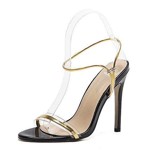 a7ac4ae25 ZPL Mujer Sandalias Estilete Strappy Alto Tacón Zapatos PeepToe Señoras  Tobillo Correa Fiesta Paseo Noche Oro