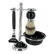 Artemis Black MACH 3 Shaving Gift Set - Razor, Bowl & Brush on Stand SHV119 by Chichi Gifts