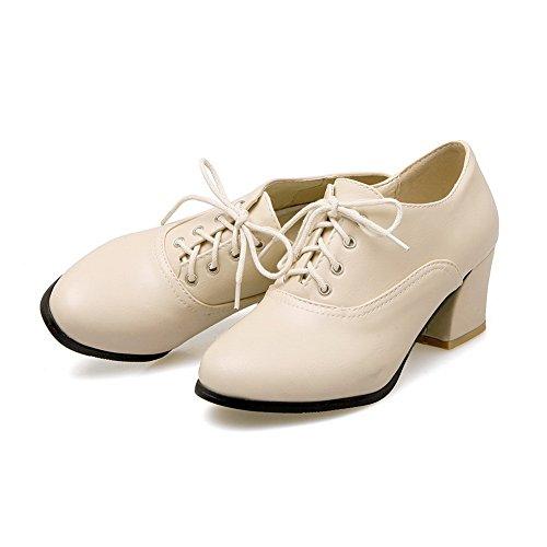 Bandage Heels BalaMasa Oxfords Shoes Round Beige Womens Urethane Toe Chunky OqvgxHT