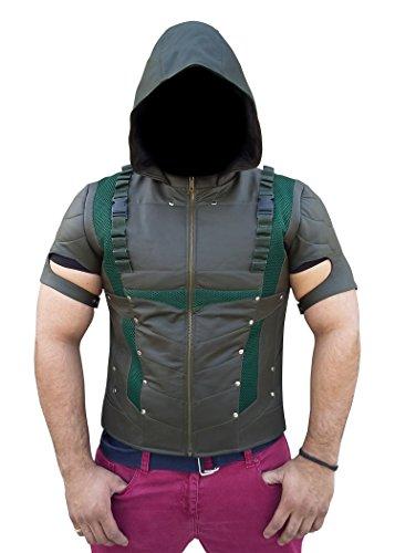 [Green Arrow Season 4 Costume Jacket - Stephen Amell Vest with Sleeves (Medium, Oliver Green)] (Green Arrow Season 4 Costume)