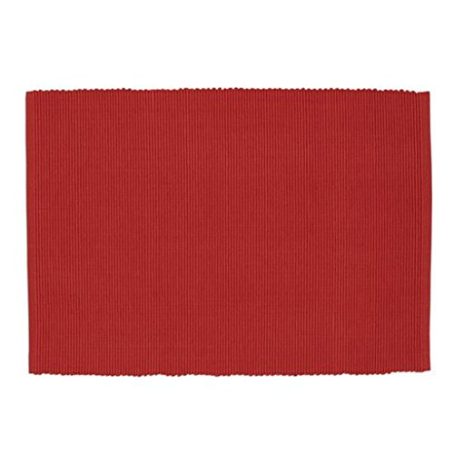 Design Imports Baja Cantina Cotton Southwest Table Linens, Placemats 13-Inch by 19-Inch, Set of 4, Habanero Red by Design Imports