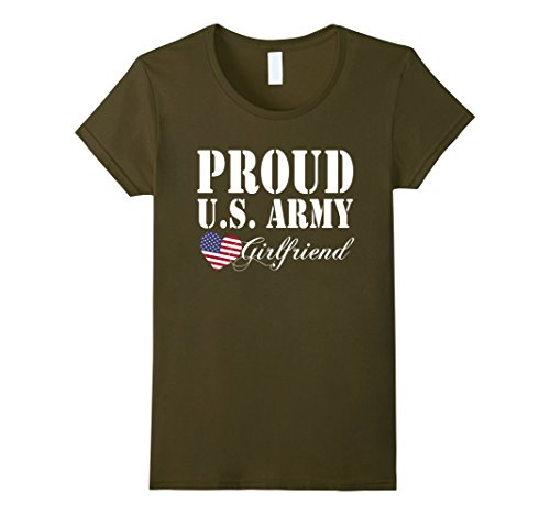 Womens Pride Military - Proud U.S. Army Girlfriend Heart T-shirt Small Olive