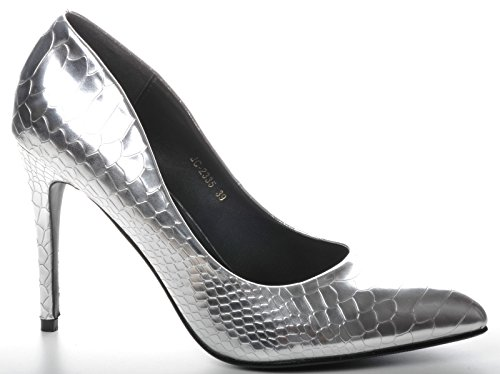 Plateado Brillantes Piel de Serpiente Zapatos Puntiagudo Metalico Detalle Talones de Novia