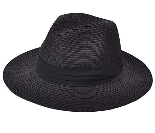 Lanzom Women Wide Brim Straw Panama Roll up Hat Fedora Beach Sun Hat UPF50+ - Hat In Winter Worn