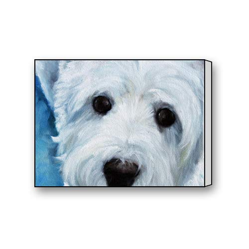 White West Highland Terrier Photos - Flipped Summer Canvas Prints West Highland White Terrier Oil Painting Art Art Paintings Pictures for Living Room Bedroom Home Office Decor 12