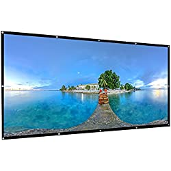AbdTech Projector Screen 120 Inch, Portable Foldable 16:9 HD Anti Wrinkles Projector Movie Screen Support Front Rear Projection Easy to Install for Indoor Outdoor Home Theater Backyard Movie Games
