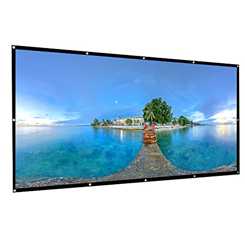 AbdTech Projector Screen 120 Inch, Portable Foldable 16:9 HD Anti Wrinkles Projector Movie Screen Support Front Rear Projection Easy To Install For Indoor Outdoor Home Theater Backyard Movie Games by AbdTech