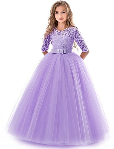 NNJXD Girls Pageant Embroidery Ball Gown Princess Wedding Dress Size (160) 11-12 Years Purple by NNJXD