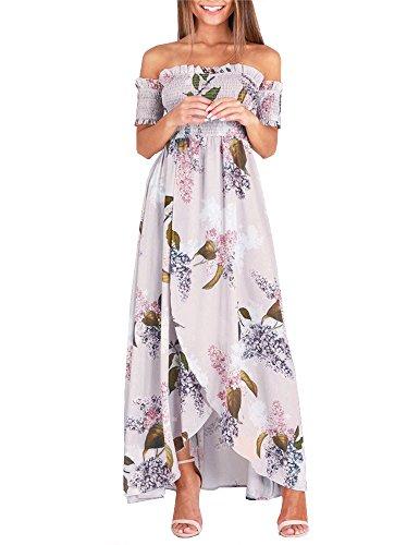 Ruici Womens Summer Floral Off The Shoulder Split Chiffon Maxi Flowy Beach Dress