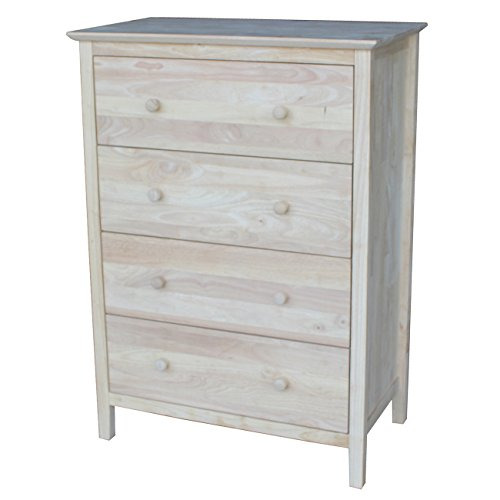 International Concepts Chest with 4 Drawers, (Unfinished Vanity)