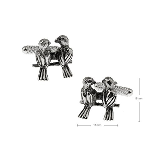 Lovebirds 2 Birds Black Cufflinks Cuff Links by Vcufflinks (Image #1)