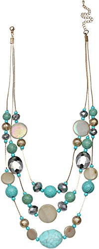 Coral Bay 3 Row Aqua Blue Beaded Illusion Necklace One Size Aqua blue multi
