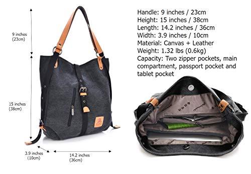 Casual Shoulder Women Backpack Bag Black Handbag Canvas Rucksack Multifunctional Fashion q0OHq