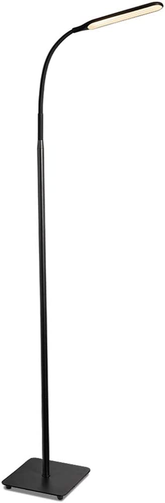 TaoTronics LED Floor Lamp, Modern Standing Light 4 Brightness Levels & 4 Colors Dimmable Adjustable Gooseneck Task Lighting for Bedroom Reading Piano Room Black