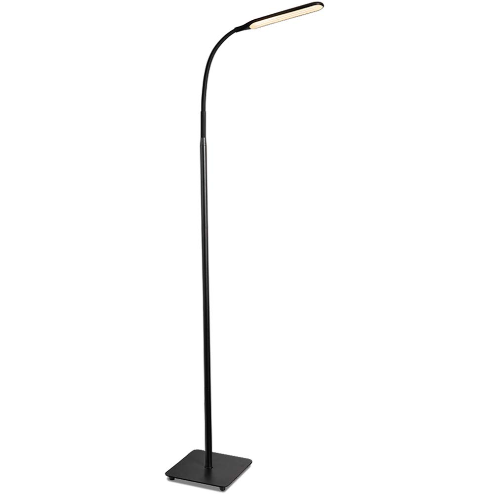 TaoTronics LED Floor Lamp, Modern Standing Light 4 Brightness Levels & 4 Colors Dimmable Adjustable Gooseneck Task Lighting for Bedroom Reading Piano Room Black by TaoTronics